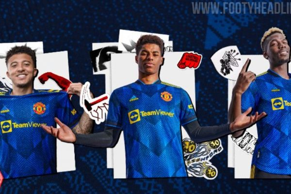 Manchester United FC has officially released the third shirt of the 2021-22 season. That using a bright blue main base with a pattern printed on it.